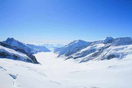 Aletsch Glacier with the blue sky in background