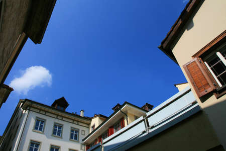Blue sky from old city town