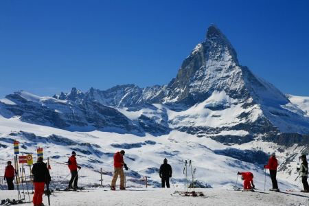 Ski season in Swiss Alps with Matterhorn in background