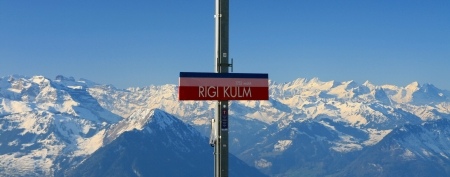 Panoramic view of Alps from the top of Rigi mountain, Switzerland