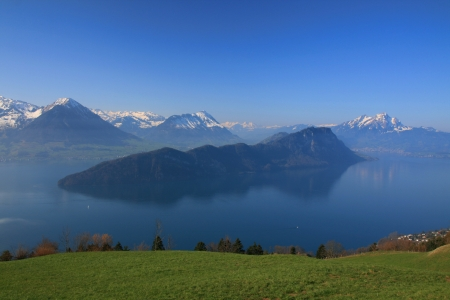 Panoramic view of Lake Lucerne, which have mountain like island in the middle, Switzerland
