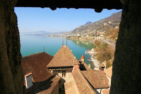 Geneva lake view from window of Chillon Castle