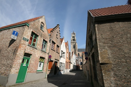 Road to Brugge city center which surrounding by brick old house, Belgium Stock Photo