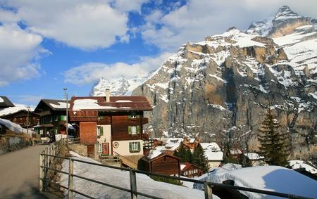 Murren, Small swiss village, in end of March 2012