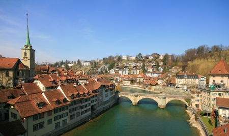 Bern old house along Aare River Stock Photo