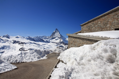 Glacier trail landscape view of Matterhorn, Switzerland photo
