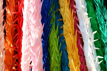Japanese origami birds in zen temple