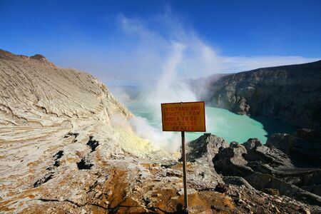 Mount Ijen java with blue sky, Indonesia photo