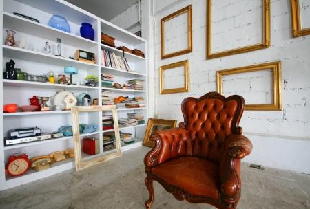 Brown classic chair in studio Stock Photo - 14411114