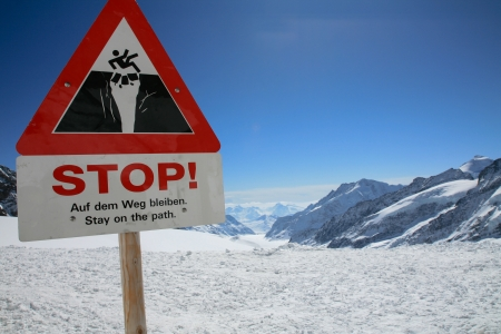 aletsch: Stay on the path sign, Aletsch glacier, Jungfrau Stock Photo