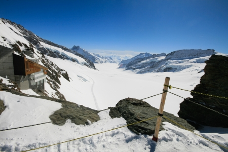 Aletsch glacier from view point Stock Photo