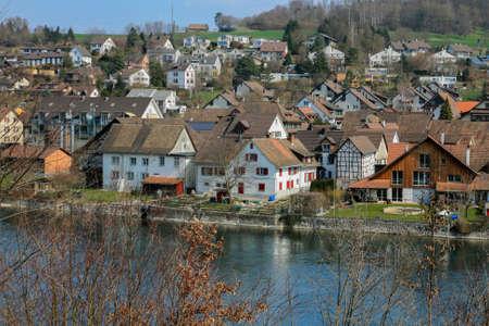 Swiss chalet along the river, Schaffhausen, Switzerland photo
