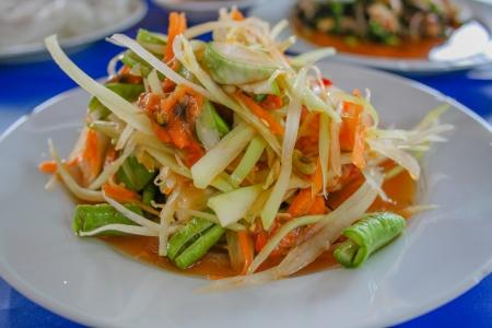somtum: Somtum, thai green papaya salad Stock Photo
