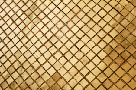 Grungy golden grid mosaic background photo