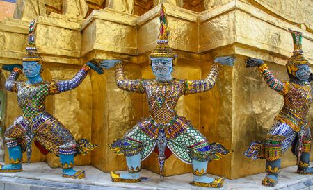 Giant statues, the Emerald Buddha temple, Thailand
