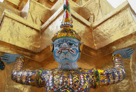 Blue giant statue, the Emerald Buddha temple, Thailand