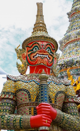 grand palace: Red giant guardian statue, the Emerald Buddha temple, Thailand