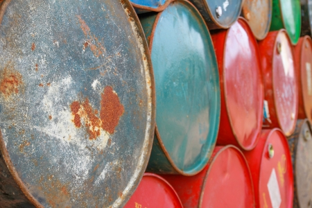 Grungy fuel tanks Stock Photo