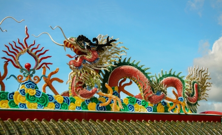Dragon statue on Chinese temple roof