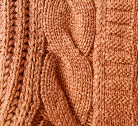 Orange knitted wool background