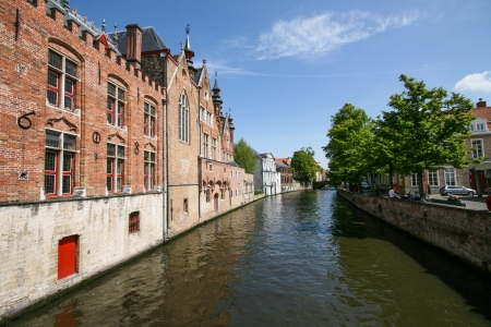 flemish: Canal in Bruges old town, Belgium