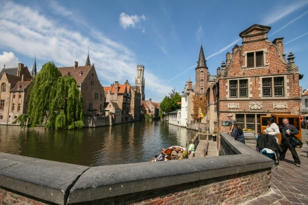 Famous Bruges canal, Belgium Stock Photo - 15745310