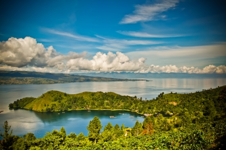 Lake toba in North Sumatra, Indonesia Stock Photo