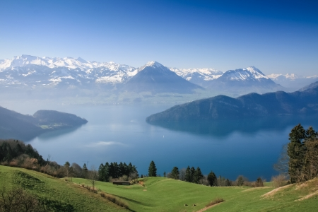 lucerne: Aerial view of Lucerne lake with swiss alpine in summer, Switzerland Stock Photo