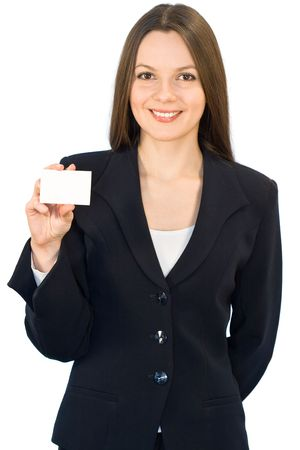 Young smiling woman with the card. Isolated on white background Stock Photo - 2471544
