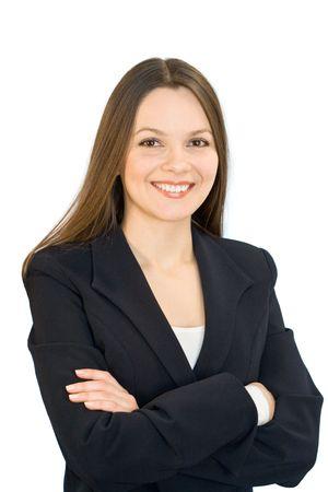Lachende jonge vrouw in een zakelijke pak. Geïsoleerd op witte achtergrond