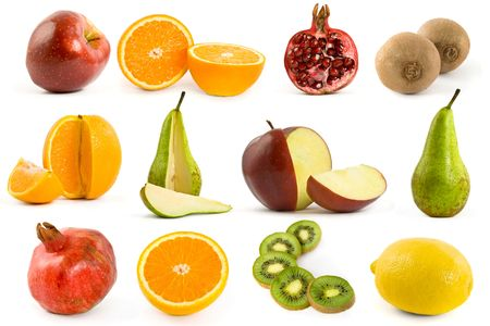 Fruits collection isolated on white background. photo