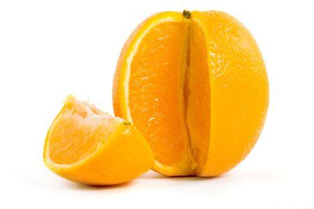 gustatory: Slice of orange on white Stock Photo