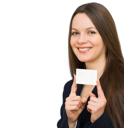 Young smiling woman with the visiting card. Isolated on white background photo