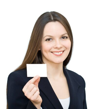 Young smiling woman with the visiting card. Isolated on white background Stock Photo - 3102576