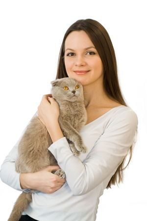 scottish female: Young woman with scottish-fold cat isolated on white background