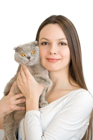 scottish female: Young woman with scottish-fold catisolated on white background Stock Photo