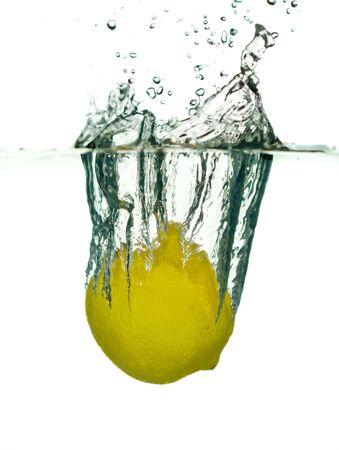 Lemon falling in water close-up Stock Photo - 3102619