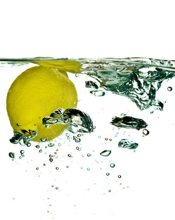 Lemon falling in water close-up Stock Photo - 3102604