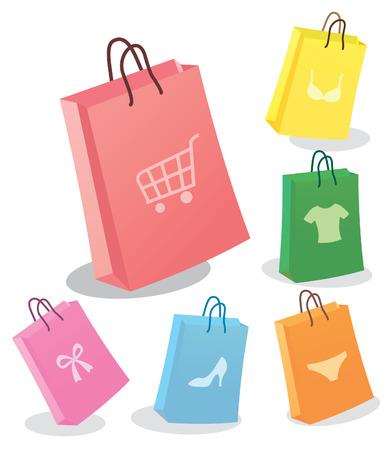Zes boodschappentassen. Vector illustration Stock Illustratie