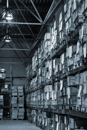 Industrial warehouse with plenty of boxes. Black and white photo Stock Photo - 3181948