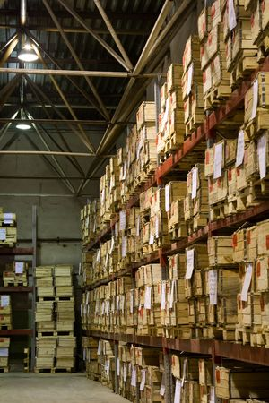 Industrial warehouse with plenty of boxes Stock Photo