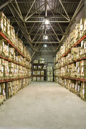 storage compartment: Industrial warehouse with plenty of boxes Stock Photo