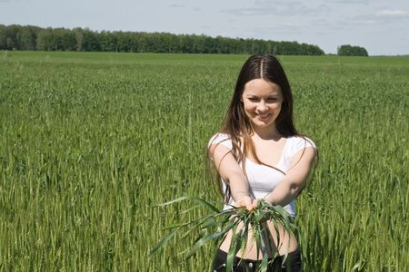 The girl in a wheaten field with ears in hands photo