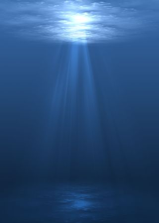 sunspot: Underwater scene with sun rays shining through water surface.
