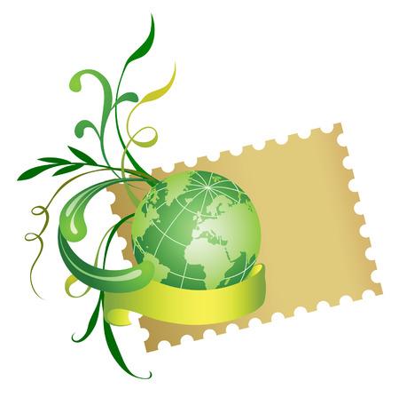sello postal: Sello de correos y mundo. Vector.