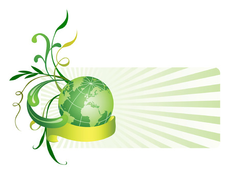 Floral background with globe. Vector illustration Stock Vector - 3608090