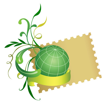 Postage stamp and globe. Vector. Stock Vector - 3608087