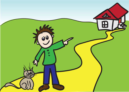 Kiddie style drawing of boy with cat. Vector illustration Vector