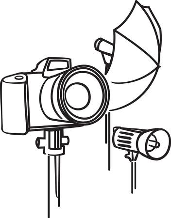 Camera, photoumbrella and flash. Vector illustration