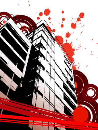 urbanization: Grunge urban abstraction with spots and circles. Vector illustration